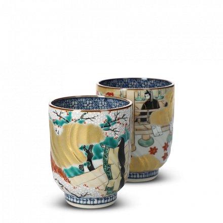 Teetassen Set Japan Porzellan Ichiraku Genji-Monogatari