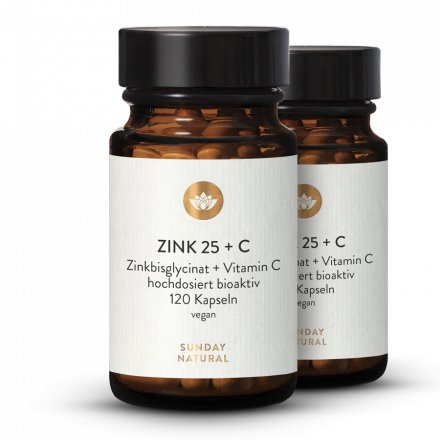 Zink 25mg Hochdosiert Zinkbisglycinat + Vitamin C Natürlich