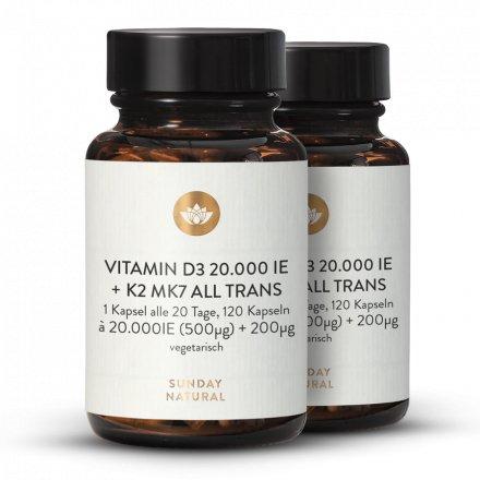 Vitamin D3 + K2 MK7 20.000 IE + 200µg all trans Kapseln