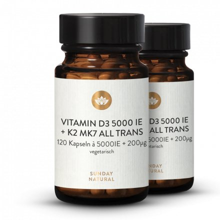 Vitamin D3 + K2 MK7 5000 IE + 200µg all trans 120 Kapseln