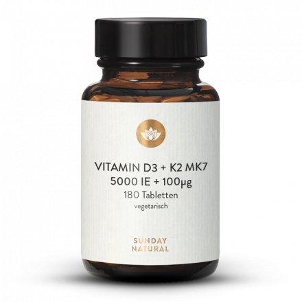 Vitamin D3 5000 IE + 100 µg K2 Mk7 180 Tabletten