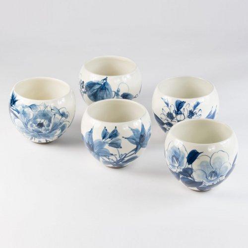 Teetassen Japan Ton 5er Set Sometsukesōka