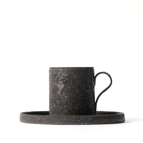 Takashi Endoh Black Demitasse Cup & Saucer
