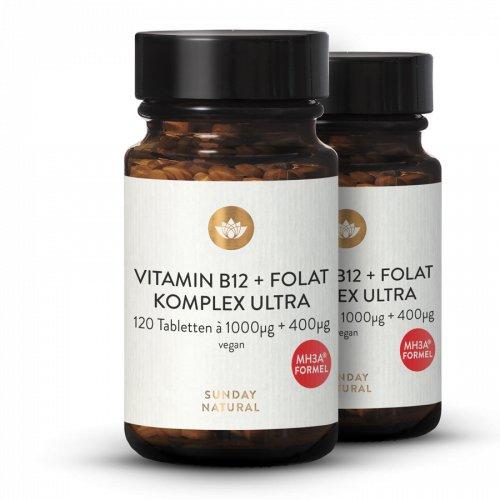 Vitamin B12 + Folsäure MH3A®+Folat Komplex 1000µg + 400µg